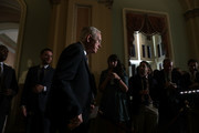 U.S. Senate Minority Leader Sen. Harry Reid (D-NV) arrives at a news briefing at the Capitol September 27, 2016 in Washington, DC. Senate Democrats held a weekly policy luncheon to discuss Democratic agenda.