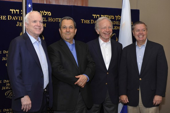 Lindsey Graham (L-R) Senator John McCain (R-AZ), Israeli Defence Minister Ehud Barak, Senator Joe Lieberman (D-CT) and Lindsey Graham (R-SC) pose prior to their meeting on July 7, 2010 in Jerusalem, Israel. Topics covered their meeting included the current state of the middle-east peace process and US-Israeli relations.