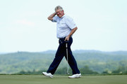 Colin Montgomerie of Scotland celebrates after winning the Senior PGA Championship Presented By KitchenAid at the Pete Dye Course at the French Lick Resort on May 24, 2015 in French Lick, Indiana.
