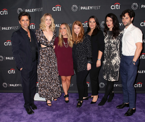 The Paley Center For Media's 2018 PaleyFest Fall TV Previews - Lifetime - Arrivals [paleyfest fall tv previews,event,premiere,fashion,carpet,red carpet,flooring,dress,little black dress,fashion design,arrivals,sera gamble,gina girolamo,sarah schechter,caroline kepnes,elizabeth lail,john stamos,l-r,paley center for media]