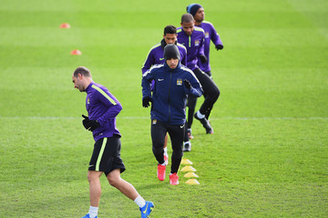 Sergio Aguero Manchester City Training and Press Conference