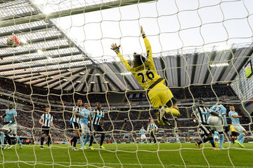 Sergio Aguero Karl Darlow Newcastle United v Manchester City - Premier League