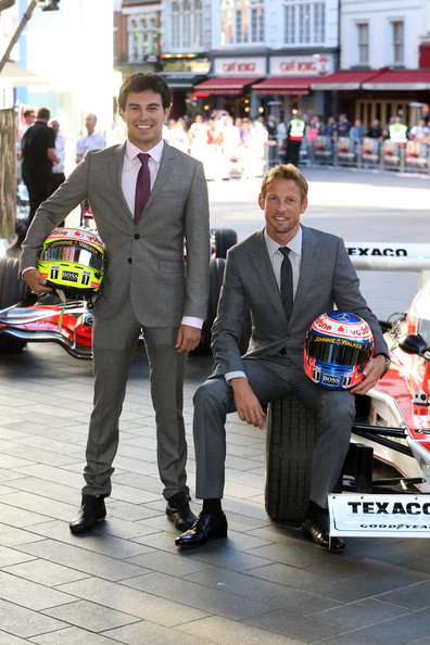 Jenson Button and Sergio Perez attend Rush Premiere