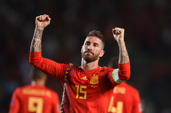 Spain vs. Croatia - UEFA Nations League A [player,football player,red,soccer player,team sport,sports,championship,sports equipment,team,fan,sergio ramos,uefa nations league a,goal,spain,croatia,estadio manuel martinez valero,elche,team,uefa nations league a group,match]