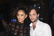 """Shay Mitchell (L) and Penn Badgley attend the """"You"""" Series Premiere Celebration hosted by Lifetime on September 6, 2018 in New York City."""