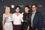 """(L-R) Elizabeth Lail, Penn Badgley, Shay Mitchell and President of Programming A+E Networks Rob Sharenow attend the """"You"""" Series Premiere Celebration hosted by Lifetime on September 6, 2018 in New York City."""