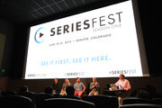 (L-R) Randy Zisk, Brannon Braga, Carter Covington, Patrick Smith, and Charles Bonan speak during the Showrunner panel at the Sie FilmCenter - Maglione Theatre as part of SeriesFest on June 20, 2015 in Denver, Colorado.