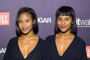 DJs Dren (L) and Angel attend the 'Seriously Distracted' launch party at 1OAK on October 20, 2014 in New York City.