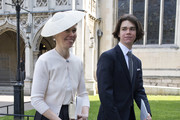 Lady Sarah Chatto (L) and her son Samuel Chatto (R) leave a Service of Thanksgiving for the life and work of Lord Snowdon at Westminster Abbey on April 7, 2017 in London, United Kingdom.