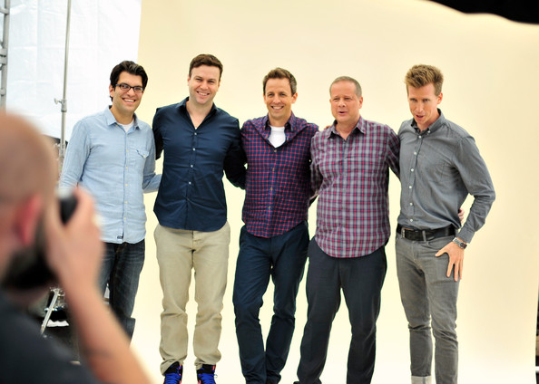 "Comic-Con For ""The Awesomes"" [the awesomes,social group,team,youth,community,event,technology,white-collar worker,photography,jeans,taran killam,dan mintz,seth meyers,josh meyers,michael shoemaker,writer,co-creator,photobooth,comic-con]"