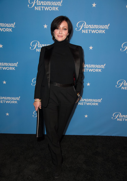 Paramount Network Launch Party - Arrivals [clothing,formal wear,suit,electric blue,outerwear,pantsuit,carpet,dress,tuxedo,event,arrivals,shannen doherty,sunset tower,los angeles,california,paramount network launch party]