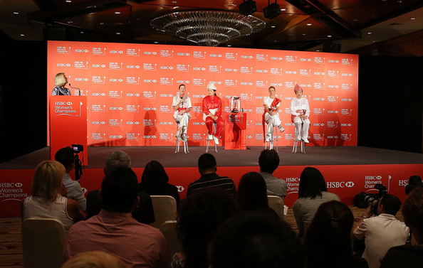 HSBC Women's Champions: Previews [hsbc womens champions - previews,red,stage,event,design,auditorium,performance,talent show,stage equipment,display device,projection screen,paula creamer,shanshan feng,l-r,media,usa,singapore,china,norway,photocall]