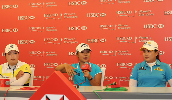 HSBC Women's Champions - Previews [hsbc womens champions - previews,technology,competition,recreation,world,competition event,news conference,shanshan feng,lydia ko,l-r,china,singapore,inbee park,south korea,new zealand,press conference]