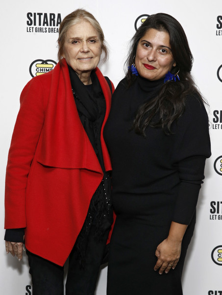 Gucci And CHIME FOR CHANGE [premiere of sitara,red,premiere,fashion,outerwear,event,carpet,fashion design,flooring,style,sharmeen obaid-chinoy,gloria steinem,winner,change,a short film by academy award,chime,vice studios,gucci,premiere]