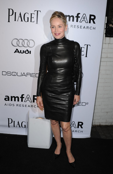 Sharon Stone Wears a Leather Dress - Celebrity Clothes - Livingly