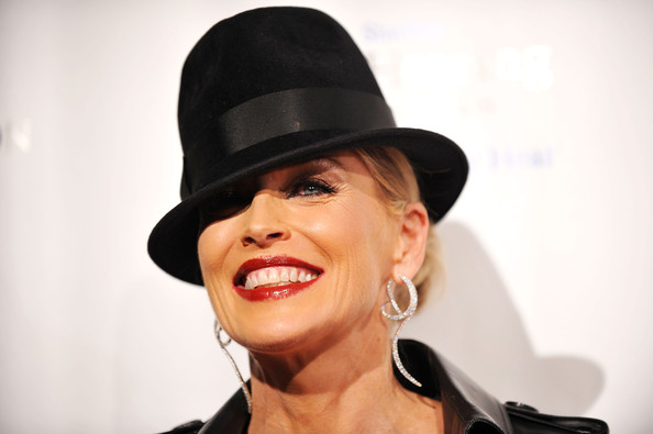 """8th Annual Elton John AIDS Foundation's """"An Enduring Vision"""" - Arrivals [an enduring vision,hair,face,facial expression,lip,hat,beauty,eyebrow,skin,chin,nose,arrivals,sharon stone,benefit,wall street,new york city,elton john aids foundation,cipriani]"""
