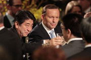 Japanese Prime Minister Shinzo Abe and Australian Prime Minister Tony Abbott toast each other at an official dinner in the Great Hall at Parliament House on July 8, 2014 in Canberra, Australia. Prime Minister is in Australia for three days and will sign a Economic Partnership Agreement with Australia. Japan is Australia's second biggest trading partner.