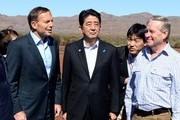 Prime Minister Tony Abbott and the Prime Minister of Japan Shinzo Abe and WA premier Colin Barnett arrive for  a tour of the Rio Tinto iron ore mine on July 9, 2014 in the Pilbara, West Australia. The Japanese Prime Minister is in Australia for three days and will sign a Economic Partnership Agreement with Australia. Japan is Australia's second biggest trading partner.
