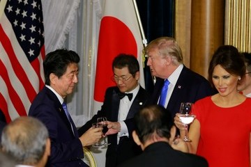 Shinzo Abe U.S. President Donald Trump on Official Visit to Japan