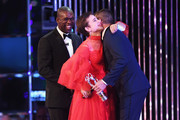 Laureus Academy member Alessandro Del Piero  hands the Laureus World Sportsperson of the Year with a Disability Award to winner Fencer Beatrice Vio of Italy as Clarence Seedorf looks on during the 2017 Laureus World Sports Awards at the Salle des Etoiles,Sporting Monte Carlo on February 14, 2017 in Monaco, Monaco.