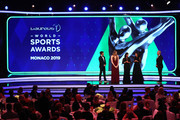 Host James Marsden on stage with the New Laureus Academy Members Missy Franklin,Lorena Ochoa and Luciana Aymar and Laureus Academy Chairman Sean Fitzpatrick.during the 2019 Laureus World Sports Awards on February 18, 2019 in Monaco, Monaco.