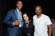 """(L-R) NBA player James Caron Butler of the Sacramento Kings, Intern Coach Jen Welter with the Arizona Cardinals and television personality Darian """"Big Tigger"""" Morgan arrive at the VIP Pre-Fight Party for 'High Stakes: Mayweather v. Berto' presented by Showtime at the MGM Grand Garden Arena on September 12, 2015 in Las Vegas, Nevada."""