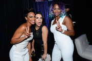 Actress Jazmyn Simon (L) and  Intern Coach Jen Welter (C) with the Arizona Cardinals arrive at the VIP Pre-Fight Party for 'High Stakes: Mayweather v. Berto' presented by Showtime at the MGM Grand Garden Arena on September 12, 2015 in Las Vegas, Nevada.
