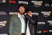 """Actors Seth Gabel (L) and Josh Gad arrive at Showtime's VIP prefight party for """"Mayhem: Mayweather vs. Maidana 2"""" at the MGM Grand Garden Arena on September 13, 2014 in Las Vegas, Nevada."""