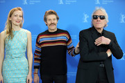 "(L-R) Dounia Sichov, Willem Dafoe and director Abel Ferrara pose at the ""Siberia"" photo call during the 70th Berlinale International Film Festival Berlin at Grand Hyatt Hotel on February 24, 2020 in Berlin, Germany."
