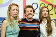 "Dounia Sichov, Cristina Chiriac and Willem Dafoe are seem at the ""Siberia"" press conference during the 70th Berlinale International Film Festival Berlin at Grand Hyatt Hotel on February 24, 2020 in Berlin, Germany."