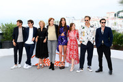 """(L-R) Gaspard Ulliel, Niels Schneider, Virginie Efira, Justine Triet, Adele Exarchopoulos, Laure Calamy, Paul Hamy and Arthur Harari attend thephotocall for """"Sibyl""""  during the 72nd annual Cannes Film Festival on May 25, 2019 in Cannes, France."""