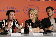"""Arthur Harari, Virginie Efira and Gaspard Ulliel attend the """"Sibyl"""" Press Conference during the 72nd annual Cannes Film Festival on May 25, 2019 in Cannes, France."""