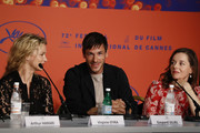 """Virginie Efira, Gaspard Ulliel and Laure Calamy  attend the """"Sibyl"""" Press Conference during the 72nd annual Cannes Film Festival on May 25, 2019 in Cannes, France."""