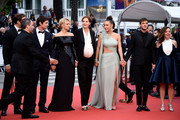 """(L-R) Niels Schneider, Virginie Efira, Justine Triet, Adele Exarchopoulos, Gaspard Ulliel and Laure Calamy attend the screening of """"Sibyl"""" during the 72nd annual Cannes Film Festival on May 24, 2019 in Cannes, France."""