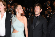 """Adele Exarchopoulos and Gaspard Ulliel depart the screening of """"Sibyl"""" during the 72nd annual Cannes Film Festival on May 24, 2019 in Cannes, France."""