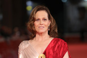 Sigourney Weaver walks a red carpet during the 13th Rome Film Fest at Auditorium Parco Della Musica on October 24, 2018 in Rome, Italy.