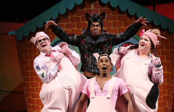 'The Three Little Pigs' - Photocall [the three little pigs,musical,musical theatre,performance,stage,heater,performing arts,fun,event,performance art,drama,daniel buckley,leanne jones,simon webbe,taofique folarin,photocall,stage,l-r,palace theatre,photocall]