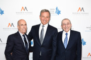Jeffrey Katzenberg, Bob Iger and Rabbi Marvin Hier attend Simon Wiesenthal Center's 2019 National Tribute Dinner at The Beverly Hilton Hotel on April 10, 2019 in Beverly Hills, California.