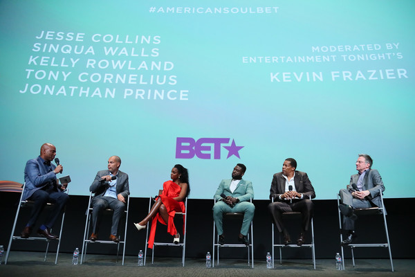 """BET's """"American Soul"""" Emmy FYC Screening Event [text,public speaking,event,human,adaptation,organism,table,font,orator,news conference,audience,kevin frazier,tony cornelius,jonathan prince,sinqua walls,kelly rowland,jesse collins,north hollywood,bet,american soul emmy fyc screening event]"""