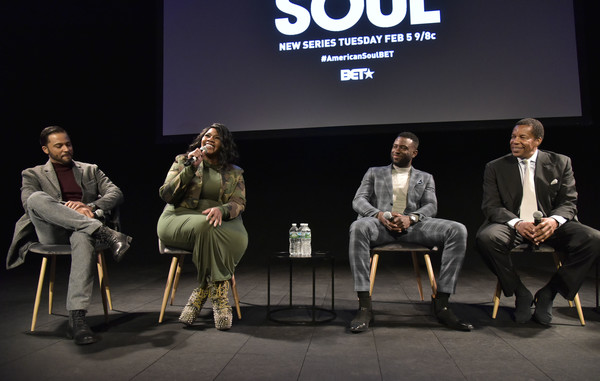 BET American Soul NYC Screening Event [event,design,adaptation,performance,conversation,brand,sitting,stage,convention,new york city,bet american soul nyc screening event,jason dirden,tony cornelius,sinqua walls,kelly price]