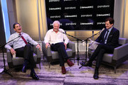 "Sir Richard Branson (C) and SiriusXM's John Fugelsang (R) attend a Special Broadcast Of ""Learning With Richard Branson"" With Guest David Miliband (L) at SiriusXM Studios on September 25, 2019 in New York City."
