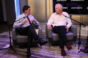 "Sir Richard Branson (R) And SiriusXM's John Fugelsang Special Broadcast Of ""Learning With Richard Branson"" With Guest David Miliband (L) at SiriusXM Studios on September 25, 2019 in New York City."