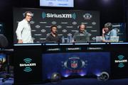 (L-R) Brady Quinn, Kyler Murray, Bruce Gradkowski and Bruce Murray attend SiriusXM at Super Bowl LIII Radio Row on January 31, 2019 in Atlanta, Georgia.