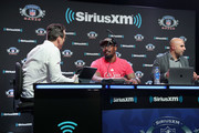(L-R) Brady Quinn, Von Miller and Bruce Gradkowski attend SiriusXM at Super Bowl LIII Radio Row on January 31, 2019 in Atlanta, Georgia.