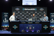 (L-R) Brady Quinn, Bruce Gradkowski and Bruce Murray attend SiriusXM at Super Bowl LIII Radio Row on January 31, 2019 in Atlanta, Georgia.