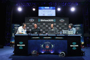 (L-R) Brady Quinn, Hines Ward, Bruce Gradkowski and Bruce Murray attend SiriusXM at Super Bowl LIII Radio Row on January 31, 2019 in Atlanta, Georgia.