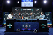 Brady Quinn, JuJu Smith-Schuster, Bruce Gradkowski and Bruce Murray attend SiriusXM at Super Bowl LIII Radio Row on January 31, 2019 in Atlanta, Georgia.