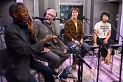 """(L-R) Actors Andre De Shields, Patrick Page, Reeve Carney and Eva Noblezada attend SiriusXM's """"On Broadway Curtain Call With The Cast Of Hadestown"""" on May 09, 2019 in New York City."""