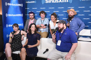 Travis McElroy, Jordan Morris, Cristela Alonzo, Paul F. Tompkins, Eliza Skinner, Alison Becker and Mike Mitchell attend SiriusXM's Entertainment Weekly Radio Broadcasts Live From Comic Con in San Diego at Hard Rock Hotel San Diego on July 20, 2018 in San Diego, California.