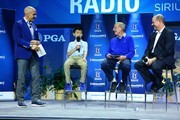 (L-R) Pete Bevacqua, Zach Huang, Lou Holtz and Mike Davis on the SiriusXM Town Hall at the PGA Merchandise Show on January 25, 2018 in Orlando, Florida.